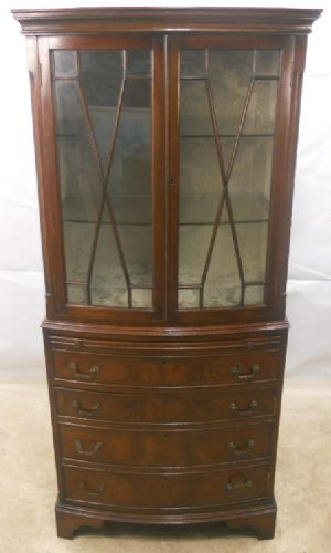 Antique Georgian Style Mahogany Display Cabinet Cupboard